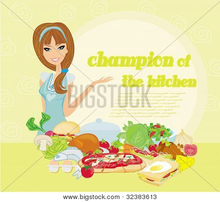 Beautiful lady cooking in kitchen