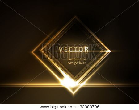 Golden light effects on square placeholder for your text on dark brown background.  Space for you message. EPS10