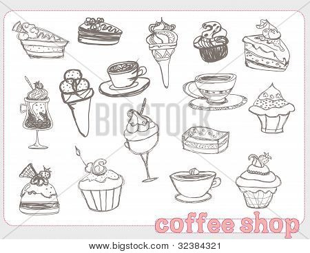 sweet dessert coffee doodle background