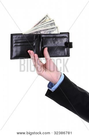 business man hand holding wallet isolated on white
