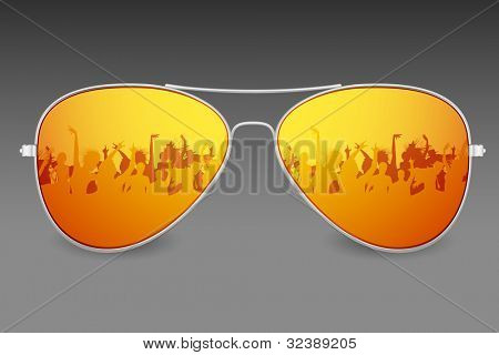illustration of dancing people on screen of sunglasses