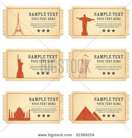 illustration of ticket for different world famous monument