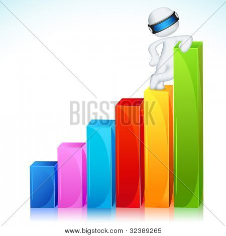 illustration of 3d business man in fully scalable vector standing on bar graph