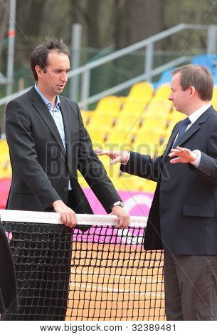 KHARKIV, UKRAINE - APRIL 20: Referees on the court during Fed Cup Tie between USA and Ukraine in Superior Golf & Spa Resort, Kharkiv, Ukraine at April 20, 2012