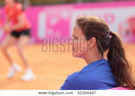 KHARKIV, UKRAINE - APRIL 19: Team captain Mary-Joe Fernandez during training before Fed Cup Tie between USA and Ukraine in Superior Golf & Spa Resort, Kharkiv, Ukraine at April 19, 2012