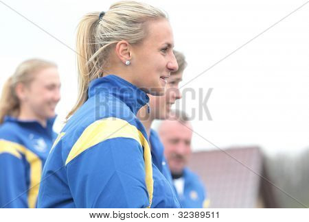 KHARKIV, UKRAINE - APRIL 20: Lesia Tsurenko and Ukrainian team talk to press during Fed Cup Tie between USA and Ukraine in Superior Golf & Spa Resort, Kharkiv, Ukraine at April 20, 2012