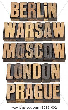 Berlín, Varsovia, Moscú, Londres y Praga - seleccionado las capitales de Europa - un collage de aislante