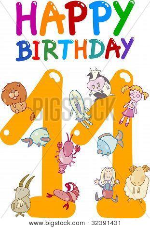 Eleventh Birthday Anniversary Design