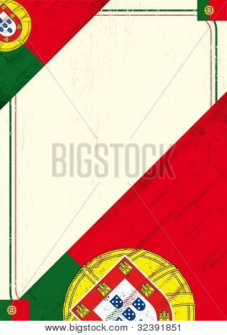 Grunge Portugal letter.  A grunge poster with a portugal flag for your advertising