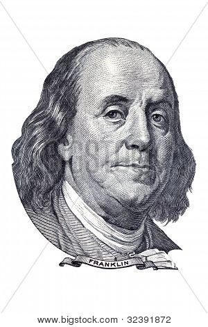 Benjamin Franklin Portrait On $100 Banknote. Isolated On White.