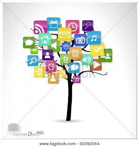 Tree with cloud of colorful application. Vector illustration.