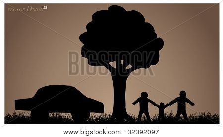 Vector background with family, house, tree and grass. Vector Illustration.
