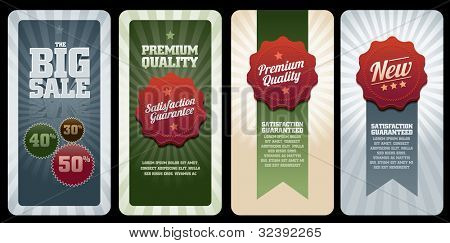 Various vector commercial banners. Elements are layered separately in vector file. Easy editable.