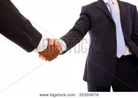 multiracial handshake on white background