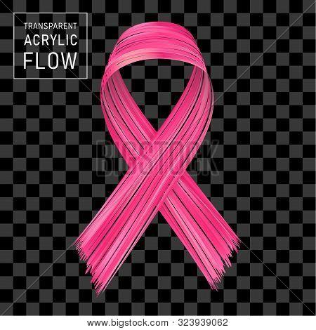 Pink Ribbon Flow Breast Cancer Awareness Symbol Brushstroke On