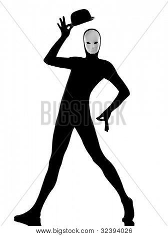 performer man mime with mask  happy saluting on studio isolated on white background