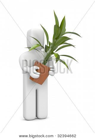 3d person hold pot with plant. Image contain clipping path