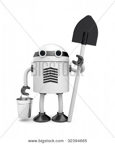 Robot with bucket and shovel. Image contain clipping path