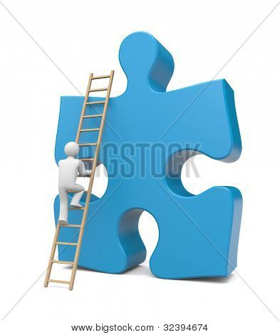 3d person climb to success. Image contain clipping path