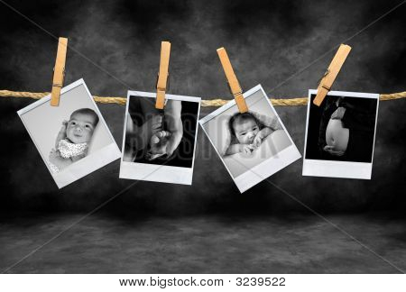 Infant And Mother Photos Developing In A Darkroom
