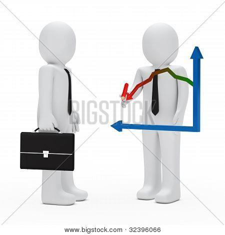 Businessman Graph Down