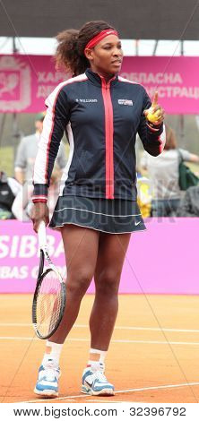 KHARKOV, UKRAINE - APRIL 22: Serena Williams before the match with Lesia Tsurenko during Fed Cup tie between USA and Ukraine in Superior Golf and Spa Resort, Kharkov, Ukraine at April 22, 2012