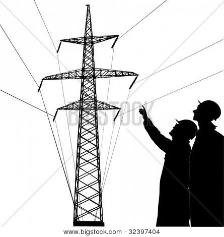 illustration with two workers near pylon