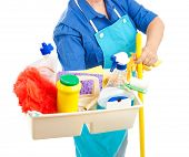 Maid holding cleaning supplies.  White background.