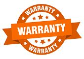 Warranty Ribbon. Warranty Round Orange Sign. Warranty poster