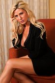 image of blonde woman  - Beautiful mature blonde in a little black dress - JPG