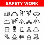 Safety Work Collection Elements Icons Set Vector Thin Line. Goggles And Earphones, Respirator And Cl poster