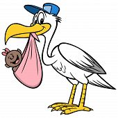 Stork Delivering An African Baby Girl - A Cartoon Illustration Of A Stork Delivering An African Baby poster