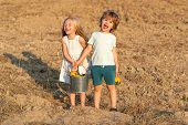 Carefree Childhood. Two Little Children On Countryside Farm. Cute Toddler Girl And Boy Working On Fa poster