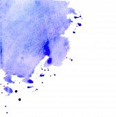 Isolated Stain Drawn By Watercolor Paints. Watercolor Background For Design Cutted On A White Backdr poster