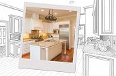 Custom Kitchen Drawing With Photo Picture Frame Containing Finished Construction. poster