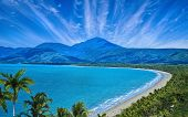 Aerial View Of Port Douglas Beach And Ocean On Sunny Day, Queensland, Australia poster