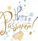 picture of matzah  - Text Featuring the Words Happy Passover - JPG