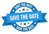 Save The Date Ribbon. Save The Date Round Blue Sign. Save The Date poster