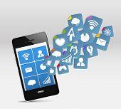 Постер, плакат: Современный мобильный телефон и социальных медиа