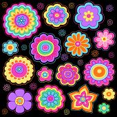 stock photo of hippies  - Flower Power Groovy Psychedelic Hand Drawn Notebook Doodle Design Elements Set on Lined Sketchbook Paper Background  - JPG