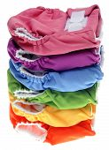 stock photo of diaper change  - Stack of Eco Friendly Cloth Diapers on White - JPG