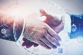 Close Up Of Two Businessmen Shaking Hands Over White Background With Double Exposure Of Planet Holog poster