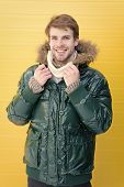 Guy Wear Warm Jacket With Hood. Feel Comfortable In Warm Clothing. Keep Warm. Comfortable Winter Clo poster