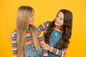 Blonde And Brunette. Healthy And Shiny Hair. Kids Cute Children With Long Hairstyle. Hairdo Tips. Lo poster
