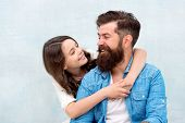 I Loved Her First. Little Daughter Hugging Father With Love And Care On Grey Background. Bearded Man poster
