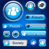 picture of people icon  - People web blue buttons for website or app - JPG