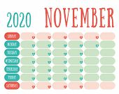 November 2020 Diary. Calendar. Cute Trend Design. New Year Planner. English Calender. Green And Red  poster