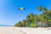 Skydiving Tandem Parachute Beach Landing poster