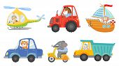 Cute Animal Drivers. Animal Driving Car, Tractor And Truck. Toy Helicopter, Sailboat And Urban Scoot poster