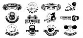 Retro Fitness Badges. Gym Emblem, Sport Label And Black Stencil Bodybuilding Badge. Fit Weight Train poster